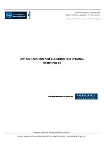 CAPITAL TAXATION AND ECONOMIC PERFORMANCE