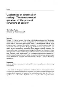 Capitalism or information society? The fundamental question of the present structure of society