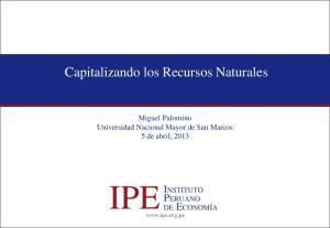 Capitalizando los Recursos Naturales