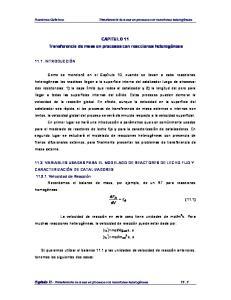 CAPITULO 11. Transferencia de masa en procesos con reacciones heterogéneas