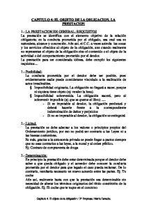 CAPITULO 4: EL OBJETO DE LA OBLIGACION. LA PRESTACION