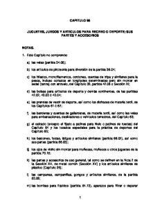 CAPITULO 95 JUGUETES, JUEGOS Y ARTICULOS PARA RECREO O DEPORTE; SUS PARTES Y ACCESORIOS
