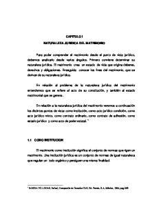 CAPITULO I NATURALEZA JURIDICA DEL MATRIMONIO