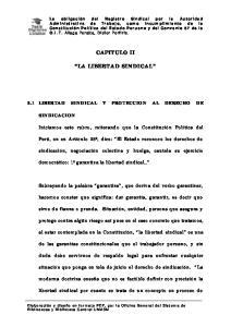 CAPITULO II LA LIBERTAD SINDICAL