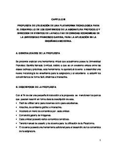 CAPITULO III A. GENERALIDADES DE LA PROPUESTA