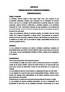 CAPITULO III SOCIEDAD COLECTIVA Y SOCIEDAD EN COMANDITA SOCIEDAD COLECTIVA