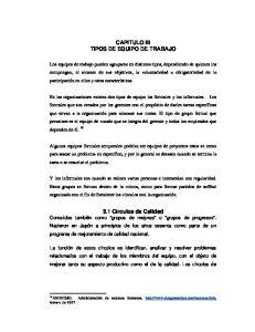CAPITULO III TIPOS DE EQUIPO DE TRABAJO