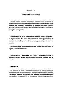CAPITULO IX EL CONTRATO DE LEASING