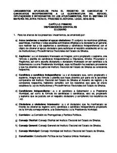 CAPÍTULO PRIMERO DISPOSICIONES GENERALES GLOSARIO. 1. Para los efectos de los presentes Lineamientos, se entenderá por: