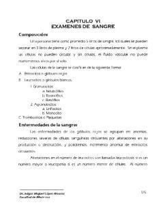 CAPITULO VI EXAMENES DE SANGRE