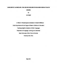 Capstone Submitted in Partial Fulfillment