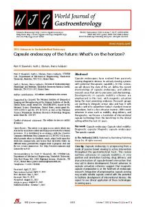 Capsule endoscopy of the future: What s on the horizon?