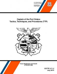 Captain of the Port Orders Tactics, Techniques, and Procedures (TTP)