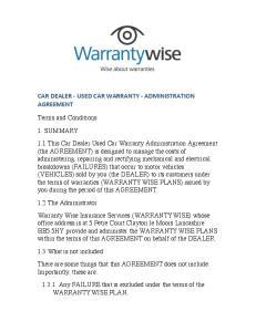 CAR DEALER - USED CAR WARRANTY - ADMINISTRATION AGREEMENT