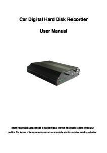 Car Digital Hard Disk Recorder. User Manual