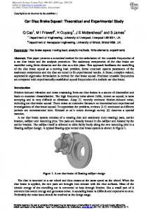 Car Disc Brake Squeal: Theoretical and Experimental Study
