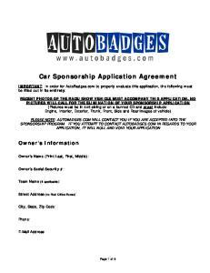 Car Sponsorship Application Agreement