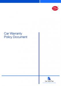 Car Warranty Policy Document