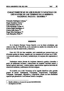 CARACTERISTICAS DE LOS SUELOS Y CAPACIDAD DE USO MAYOR DE LAS TIERRAS DE LA RESERVA NACIONAL PACAYA - SAMIRIA *