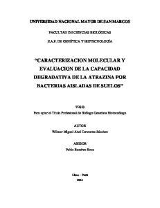 CARACTERIZACION MOLECULAR Y EVALUACION DE LA CAPACIDAD DEGRADATIVA DE LA ATRAZINA POR BACTERIAS AISLADAS DE SUELOS