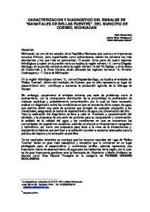 CARACTERIZACION Y DIAGNOSTICO DEL EMBALSE DE MANATIALES DE BELLAS FUENTES, DEL MUNICIPIO DE COENEO, MICHOACAN