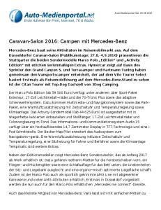 Caravan-Salon 2016: Campen mit Mercedes-Benz