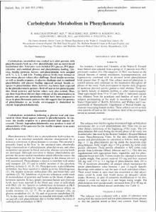 Carbohydrate Metabolism in Phenylketonuria