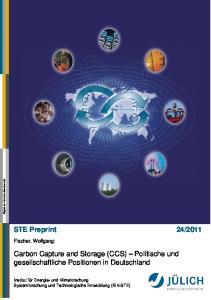 Carbon Capture and Storage (CCS) Politische und gesellschaftliche Positionen in Deutschland