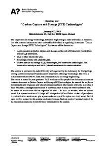 Carbon Capture and Storage (CCS) Technologies