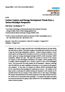 Carbon Capture and Storage Development Trends from a Techno-Paradigm Perspective
