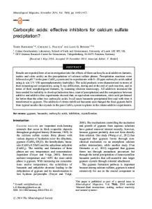 Carboxylic acids: effective inhibitors for calcium sulfate precipitation?