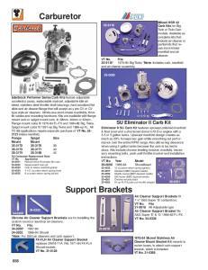 Carburetor. Support Brackets. SU Eliminator II Carb Kit. Mikuni HSR