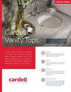 Cardell Vanity Tops. ORDER FORM