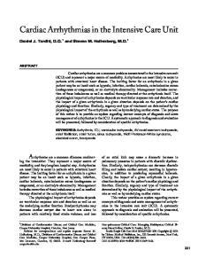 Cardiac Arrhythmias in the Intensive Care Unit