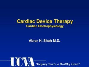 Cardiac Device Therapy Cardiac Electrophysiology