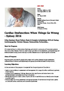 Cardiac Dysfunction: When Things Go Wrong - Sydney 2016