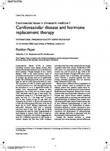 Cardiovascular disease and hormone replacement therapy