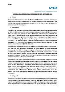 CARDIOVASCULAR DISEASE (CVD) PROGRESS REPORT - SEPTEMBER 2013