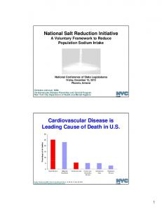 Cardiovascular Disease is Leading Cause of Death in U.S