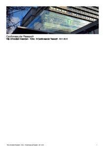 Cardiovascular Research Vrije Universiteit Amsterdam - VUmc - M Cardiovascular Research