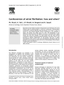 Cardioversion of atrial fibrillation: how and when?