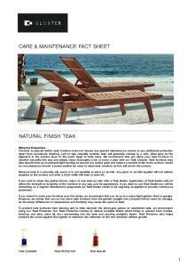 CARE & MAINTENANCE FACT SHEET NATURAL FINISH TEAK