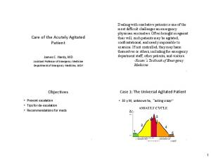 Care of the Acutely Agitated Patient. Objectives. Case 1: The Universal Agitated Patient