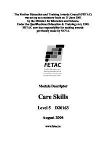 Care Skills. Level 5 D August Module Descriptor