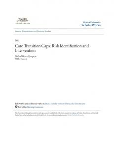 Care Transition Gaps: Risk Identification and Intervention