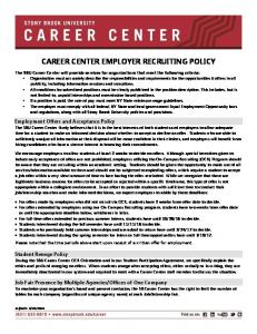 CAREER CENTER EMPLOYER RECRUITING POLICY