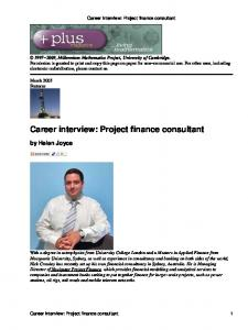 Career interview: Project finance consultant