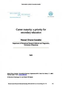 Career maturity: a priority for secondary education