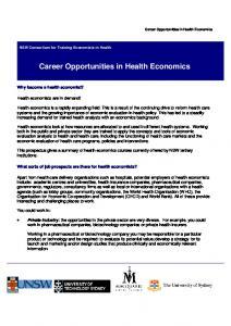 Career Opportunities in Health Economics