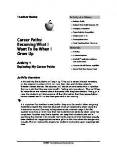 Career Paths: Becoming What I Want To Be When I Grow Up